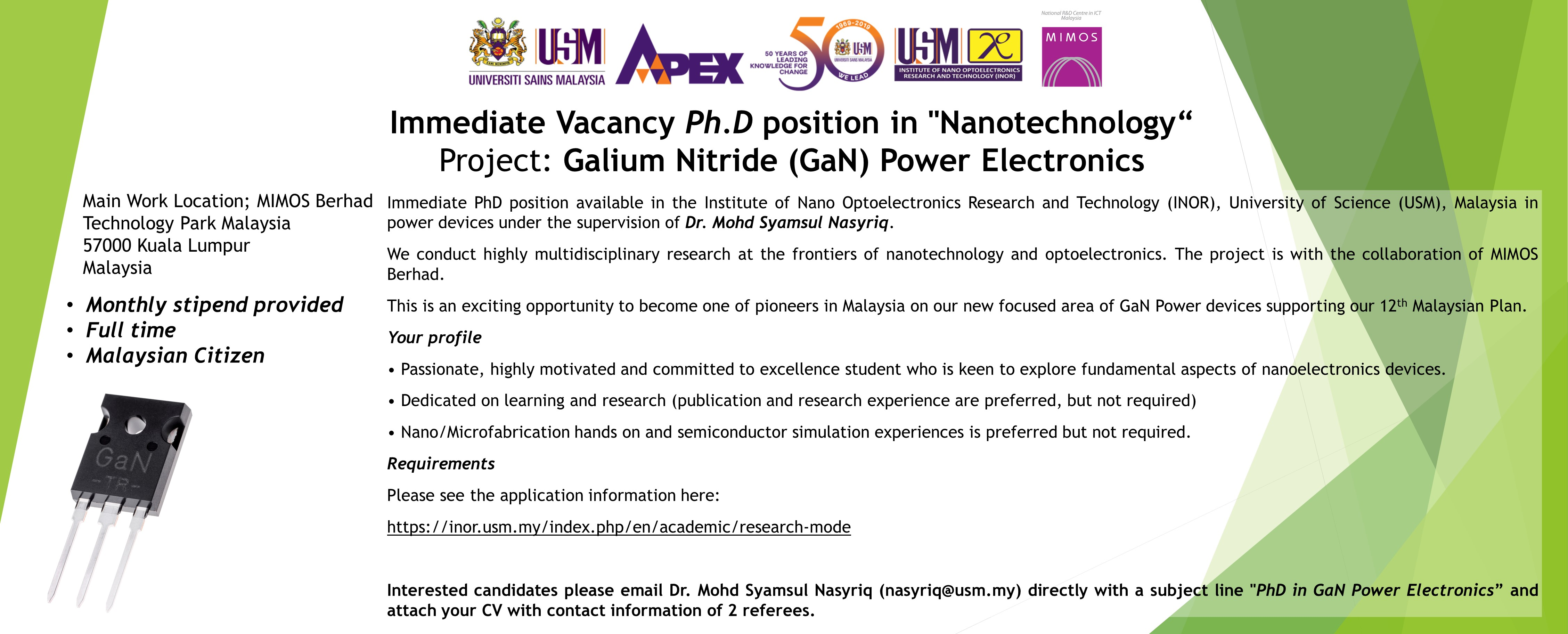 Immediate Vacancy PhD 2