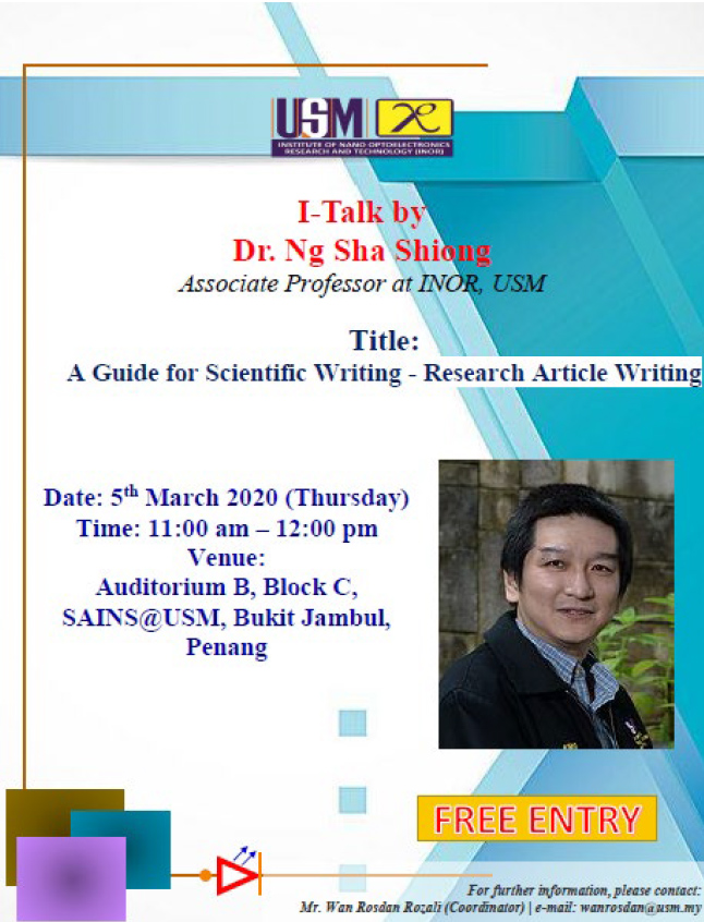 I-Talk : A Guide for Scientific Writing: Research Article Writing